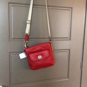 coach red leather crossbody NWT